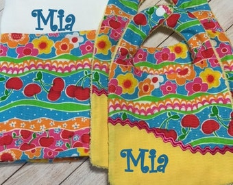 Personalized Three Piece Set Fruit and Flower Bibs and Burp Cloth Baby Girl - Custom Personalized Infant Gift Set