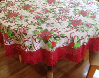 Vintage Round Christmas Tablecloth with Red Fringe