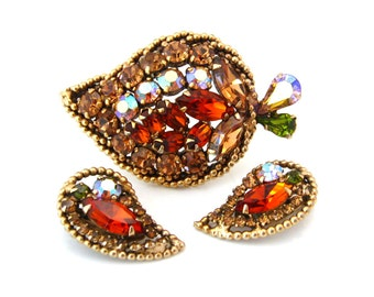 WEISS Brooch Earrings Set   Autumn Rhinestone Leaf Demi Parure   Signed Vintage 1950s Jewelry