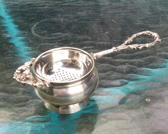 Vintage silver plate Tea Bag Strainer and Holder