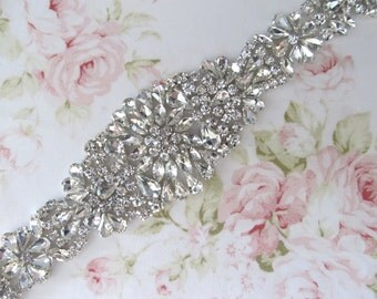 Rhinestone Bridal Sash,Wedding sash,Bridal Accessories,Bridal Belt,Bridal Applique # 106