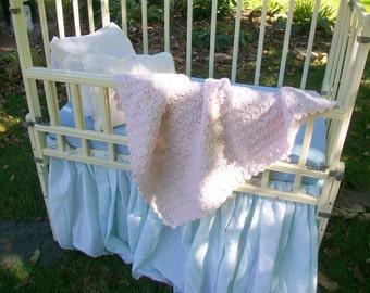 Pink baby blanket Infant afghan Hand crocheted Crib blanket Baby shower gift