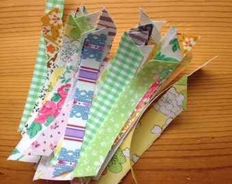 Handmade fabric washi tape strips vintage sheets craft supplies