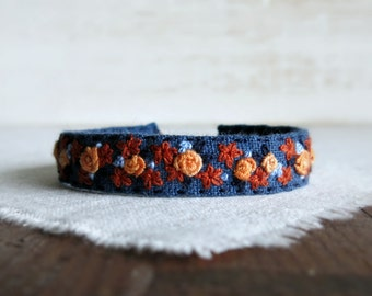 Textile Art Cuff Bracelet - Floral Design in Fall Colors on Blue Linen Embroidered Cuff Bracelet