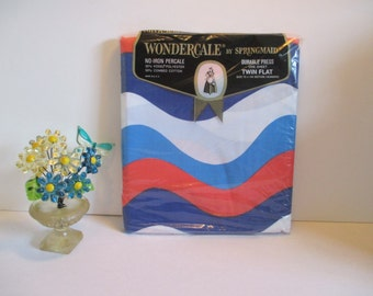 Vintage Wondercale by Springmaid - One Twin Flat Sheet - Super Fun, Retro, Red, White & Blue Pattern - New in Package