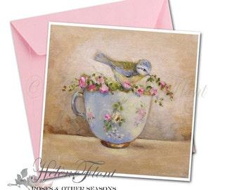 Reproduction peinture, print , carte postale - Mésange  Tasse porcelaine bleu de Sèvres , fleurs Limoges Country chic © Hélène Flont Designs