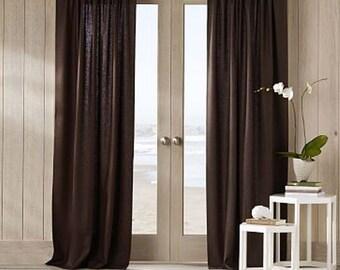 Solid color linen drapes, chocolate brown linen curtain panels, rod pocket panels