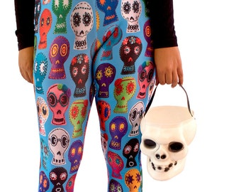 Sugar Skull Capris Leggings - photos of embroidered sugar skulls leggings - Day of the Dead capris - custom backgrounds - Halloween capris