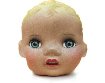 Creepy Cute Blonde Doll Head Throw Pillow - vintage doll head photo pillow - shaped novelty throw pillow - creepy doll pillow