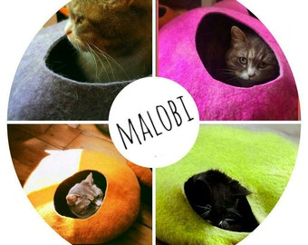 Cat Cave/cat bed-handmade felt-white+bright block colours-S,M,L,Xl + free felted balls