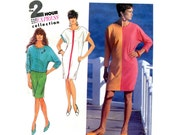 Easy Color Block Dress Pattern Dolman Sleeves Top and Skirt Tapered Simplicity 7279 Bust 38 40 42 44 46 Vintage Sewing Pattern