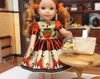 "HALLOWEEN Wellie Wishers ""Spookilicious"" Halloween dress, shoes, and slip for WW American girl and other similar 14 inch dolls"