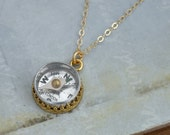 gold compass necklace - GUIDANCE - vintage style gold filled necklace with miniature vintage working compass