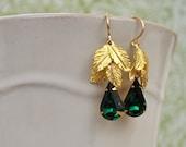 GOLD LEAF EARRINGS, golden tone raw brass leaf earrings with Swarovski green emerald glass teardrop jewels