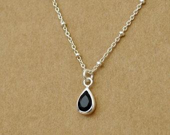 silver rain drop necklace, RAINING DAY, teardrop necklace, rain drop, clear water, petite water drop necklace, teardrop, black onyx stone