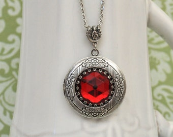 locket necklace - THE DARK ROMANCE - vintage ruby red glass jewel locket necklace in antiqued silver