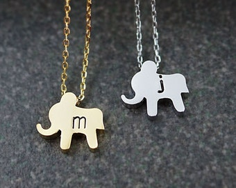 Personalized cute elephant Necklace, initial Necklace, Dainty letter necklace, monogram jewelry, Bridesmaids gift Weddings Christmas gift