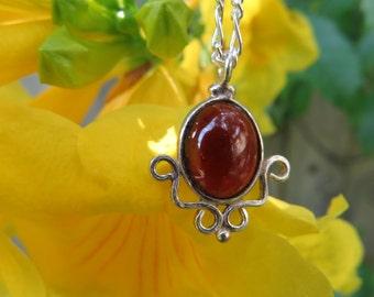 Feminine Garnet and Sterling Silver Necklace
