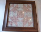Vintage Framed Quilt Square Pine Frame Pink Cottage Farmhouse