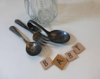 Vintage Children's Silverware Baby Spoon