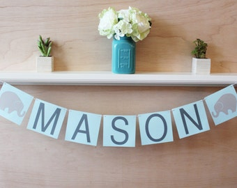 "Elephant Banner - Custom Name or Phrase - Elephant Baby Shower or Party Decoration - Custom Colors - 4"" Tall Pennants"