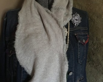 Oatmeal felted cashmere scarf with brushed alpaca soft trim