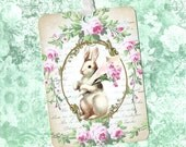 Easter, Bunny Tags, Easter Rabbit, Roses, Gift Tags, Holiday