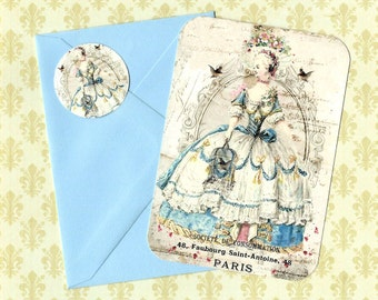 Note Cards, Marie Antoinette, Vintage Style, Birds & Flowers, Flat Note Cards, Stickers