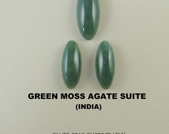 Green Moss Agate Oval Designer Cabochon Suite for Jewelry Artisans.