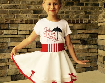 Mary Poppins Jolly Holiday inspired skirt and tee shirt