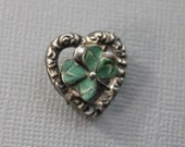 Antique Sterling and Enamel Clover Heart Pin / Lucky in Love