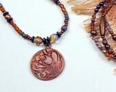 Plum Bronze.. Inspiration Gift, Message, Faith, Floral Art Bead, Beaded Necklace cabnn38