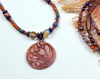 Plum Bronze.. Inspiration Gift, Message, Faith, Floral Art Bead, Beaded Necklace cabnn38