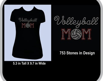 Volleyball Mom Rhinestone Shirt for Women