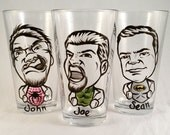 Super Hero Vintage Style Original Caricature Beer Glass- Hand Painted Beer Glass - What's Your Super Power? - Cool Groomsmen Gift