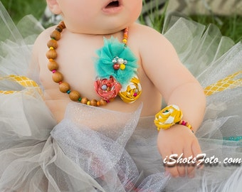 Wood Bead Fabric Rosette Necklace Bracelet Set, Baby Girl Stretchy Tulle Flower Aqua Coral, Mustard Yellow Little Girl First Birthday Outfit