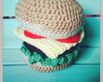 Ready to Ship! Crocheted Hamburger!
