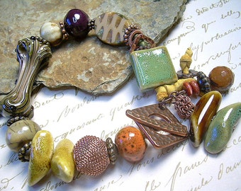 Bold Lampwork, Czech Glass And Ceramic Bead Bracelet With Copper Charms