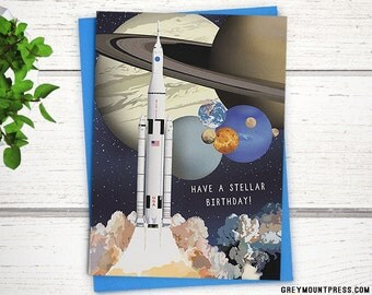 "Space birthday card, ""Have a stellar birthday"" // Planets birthday card. Outer space greeting card, Birthday card for kids."