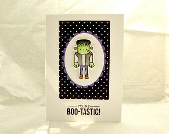 Halloween Card, Boo-Tastic Halloween Card, You're Boo-Tastic, Frankenstein Halloween Card, Halloween Card for a Child, Kid's Halloween Card