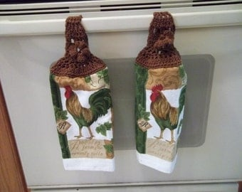 Towel - Kitchen Towel with Crochet Towel Topper - Cook as Pattern - Great for Fall Decoration