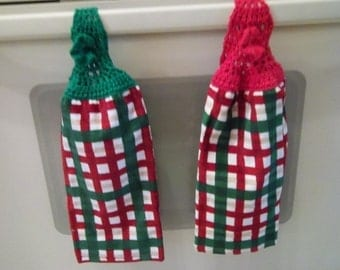 Towel - Kitchen Towel with Crocheted Towel Topper - Christmas Decoration for Your Kitchen