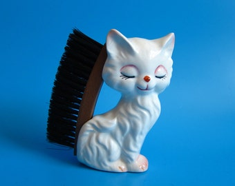 Vintage PACIFIC JAPAN Kitty Cat Boot Clothes Brush mid century kitsch 1950s 60s shoe brush white kitten retro kitschy