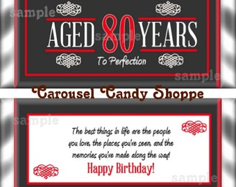 80th Birthday Party Favors Hershey's Candy Bar Wrappers Red
