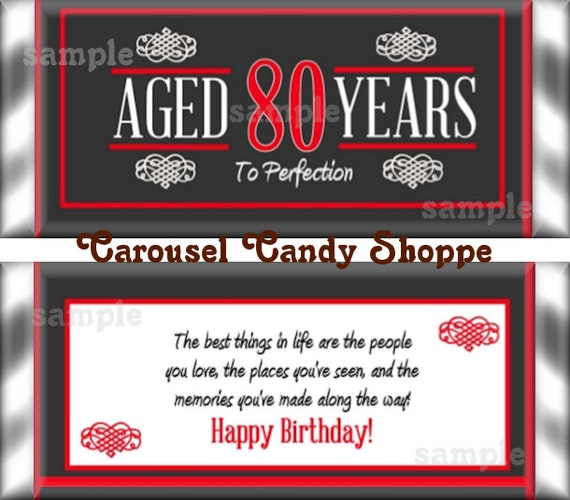 80th Birthday Party Favors Hershey's Candy Bar Wrappers