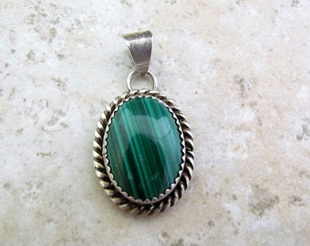 Vintage Sterling Silver And Malachite Pendant Signed MKM