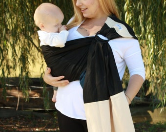 Wide Pleated Shoulder Linen Banded Ring Sling Baby Carrier - Black & Tan -Baby Sling Provides Custom Fit For All Ages and Body Types