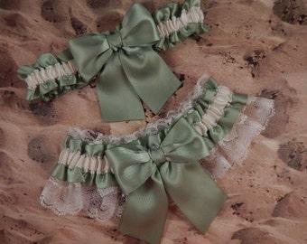 Moss Green Ribbon Ivory Lace Bridal Wedding Garter Toss Set