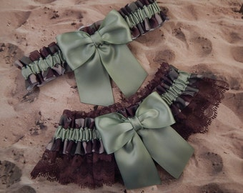 Camo Camouflage Sage Green Satin Brown lace Wedding Bridal Garter Toss Set