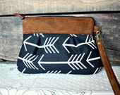 Arrow fabric clutch wristlet pouch Faux suede trim white black canvas --Ready to Ship-